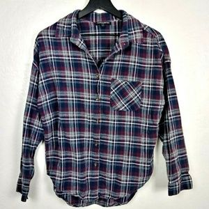 Brandy Melville Maroon/Blue Plaid Button Up Shirt